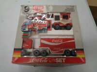 REMCO 9 PIECE COCA COLA SET TRUCK PRESSED STEEL 1988 BOX RARE VINTAGE TOYS COKE