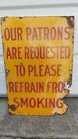 Antique 1930s SHELL OIL GAS STATION PATRONS REFRAIN FROM SMOKING PORCELAIN SIGN