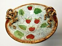 Egisto Fantechi Maioliche Majolica Strawberry Centerpiece Handpainted Bowl Italy