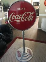 Original Vintage COCA COLA SCHOOL SLOW  Double Sided Lollipop Metal Sign