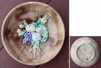 Pretty/Old Majolica Basketweave & Fruit Bowl, Circa 1880s