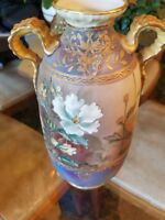 Nippon Hand Painted Morimura Bros. Urn Vase with Heavy Gold Decoration