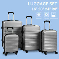 4Pcs ABS Trolley Carry On Travel Luggage Set Bag Spinner Suitcase wLock Silver