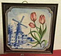 #1 of 4 ~~~ SIGNED DUTCH DELFT TILE with TULIPS KORENMOLEN WINDMILL  ( 6