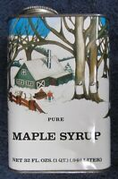 Vintage PURE MAPLE SYRUP TIN Quart Can Winter Sled Scene Advertising FREE SHIP