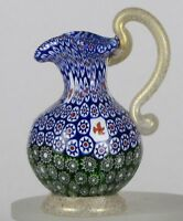 Miniature millefiori Toso handled Pitcher with gold. Vittorio Ferro