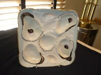 TROMPE L'OEIL FRINGED NAPKIN OVER SHELLS SQUARE BABY BLUE OYSTER PLATE C1880