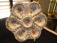 ANTIQUE DRESDEN OYSTER PLATE/DISH DOUBLE MARKED AND EXCELLENT
