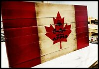 Canadian Flag - Rustic Wooden Flag - Crown Royal - Whiskey Sign