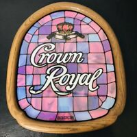 RARE Purple Crown Royal Mirror Bar Sign Advertising Oval Whiskey Wood Framed