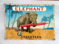 Vintage Rare J.S Staedtler Elephant Pencil Ad Litho Print Tin Sign Board Germany