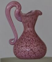 Miniature millefiori Toso Pitcher with handle. Vittorio Ferro Pink Daisey