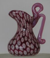 Miniature millefiori Toso Pitcher w/ handle. Vittorio Ferro Red Chevron murrine