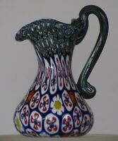 Miniature millefiori Toso Pitcher w/handle. Vittorio Ferro Green Chevron/Daisey