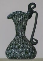 Miniature millefiori Toso Pitcher w/handle. Vittorio Ferro 6 layer Green Chevron