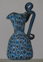Miniature millefiori Toso Pitcher w/handle. Vittorio Ferro 7 layer Teal Chevron