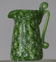 Miniature millefiori Toso Pitcher w/handle. Vittorio Ferro. Green Daisey murrine
