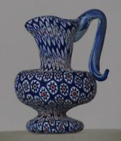 Miniature millefiori Toso Pitcher w/handle. Vittorio Ferro. Complex Star murrine
