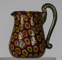 Miniature millefiori Toso Pitcher w/handle. Vittorio Ferro. Bullseye murrine