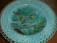 Antique France French Majolica, Sarreguemines Plate Bird and Dragonfly