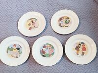 5 Vintage French Porcelain Children Plates Sarreguemines Nursery Rhymes