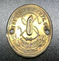 Vtg 30s 40s Singer Sewing Mfg Gold Tone Trade Mark Industrial Brass Tag Badge