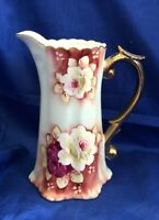 Vintage Nippon Hand Painted Pitcher with Roses Golden Handle Simple Elegance
