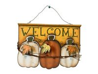 Wood Pumpkin Welcome Sign Fall Harvest Wall Decor Halloween Thanksgiving Decor