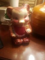 Vintage 1940's American Bisque Bear Cookie Jar Collectible USA Pottery