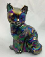 FENTON Purple Amethyst Carnival Iridescent GLASS CAT Hand Painted Flowers
