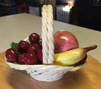 "Ceramic Lattice Weave Basket With Assorted Fruits Handmade in Italy 7""L  X 5""W"