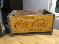 Vintage Coca Cola Yellow Wood Crate Coke Box International Falls MN