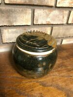 OLD ARTIST SIGNED UNIQUE STUDIO ART POTTERY CERAMIC STONEWARE LIDDED BOWL JAR 5