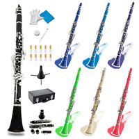 Multi-Color B Flat Clarinet w/ 2 Barrels, Case, Mouthpiece, Glove, Cloth, Stand