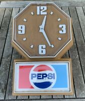 "Rear Vintage Pepsi Cola Advertising Wall Clock Sign Battery Operated 14""x20"""