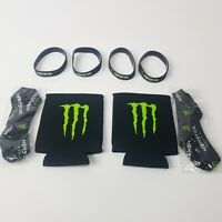 8 Item Monster Energy Drink Promotional Lot:  4 Bracelets  2 Koozies  2 Lanyards