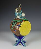 Unusual Old Japanese Pottery Drum Form Container with Monkey on Cov