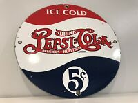 VINTAGE PEPSI-COLA PORCELAIN SIGN GAS STATION PUMP PLATE FOUNTAIN DRINK MOUNTAIN