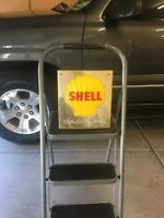 Original 1950s SHELL GASOLINE Gas Pump Plate Sign Embossed 12