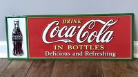 """Coca Cola With Bottle Embossed Metal Sign 28"""" X 10"""" Mint Condition"""