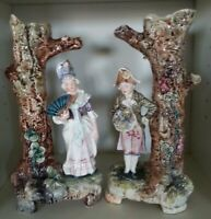 Pretty/Old Majolica PAIR of Very Nice Figural Vases Excellent Condition