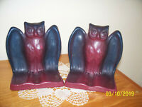 Vintage Van Briggle Pottery Owl bookends Mulberry and blue in color