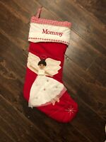 New Pottery Barn Kids Red Quilted Brunette Angel Christmas Stocking Mono Mommy