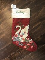 New Pottery Barn Fairy Tale Swan Red Christmas Floral Stocking Mono Lindsay