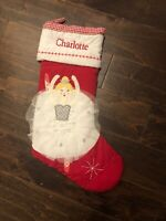New Pottery Barn Kids Red Quilted Blonde Ballerina Christmas Stocking *Charlotte