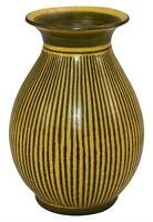 West German Pottery Art Deco Yellow and Black Striped Ceramic Vase