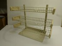 Vintage METAL WIRE STORE DISPLAY RACK - Three (3) Adjustable Shelves