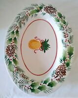 Stonelite Ceramic Oval Christmas Holiday Platter Holly Pineapple Pine Cones