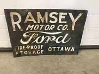 Ramsey Ford Motor Company Sign, Not Porcelain, Gas And Oil, Chevrolet