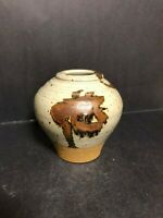 UNIQUE ARTIST SIGNED Z STUDIO ART POTTERY CERAMIC STONEWARE VASE EARTH TONES 5